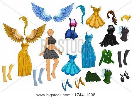 vector cute dress up paper doll body template