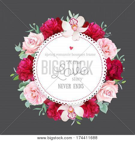 Elegant burgundy red peonies, orchid, rose, camellia, eucalyptus leaves round vector frame on grey background. All elements are isolated and editable.