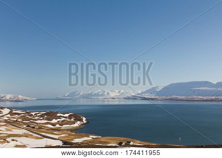 Iceland winter natural landscape with clear blue sky background