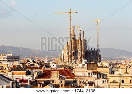 BARCELONA, SPAIN - CIRCA 2015: Sagrada la Familia, under Construction