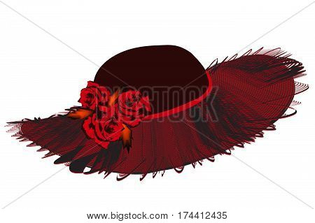 Elegant women hat with netting wavy brim and roses in black and red colors isolated on white