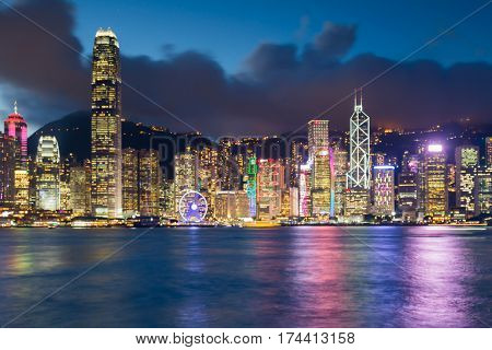Twilight blur boke light Hong Kong city office building abstract background