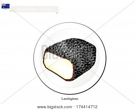 Australian Cuisine Lamington or Traditional Square Sponge Cake with Chocolate Icing and Shredded Coconut. The National Cake of Australia.