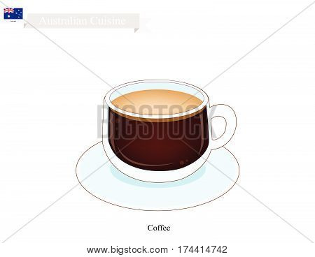 Australian Cuisine Traditional Hot Coffee. One of The Popular Beverage in Australia.