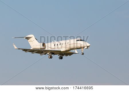 VNUKOVO, MOSCOW REGION, RUSSIA - 28 August, 2016: Airplanes at Vnukovo international airport. business jet OH-FLM Jetflite Bombardier BD-100-1A10 landing on the runway