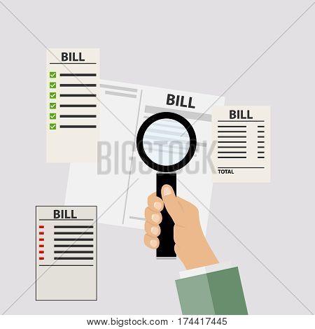 Bills for utilities, receipts, magnifying glass in hand. Flat design, vector illustration, vector.