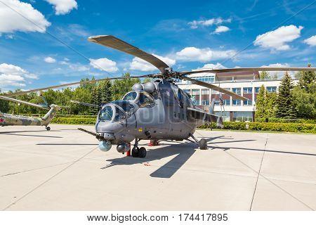 KUBINKA, MOSCOW REGION, RUSSIA - JUNE 18, 2015: Mi-24 Russian military helicopters at Kubinka air force base.