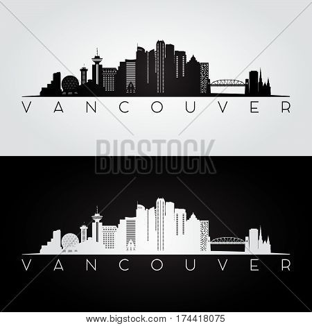 Vancouver skyline and landmarks silhouette, black and white design, vector illustration.