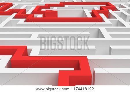 3d rendering of a white square maze in close up view with a red arrowed line showing the solution on white background. Mazes and labyrinths. Secrets and puzzles. Problems and solutions.