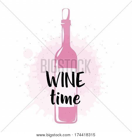 Vector illustration of drink related typographic quote. Wine old logo design. Alcohol background printable. Vintage kitchen print element with wine bottle on grunge spot background