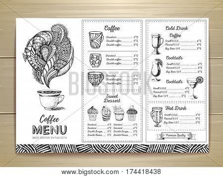 Coffee menu design. Decorative sketch of cup of coffee or tea