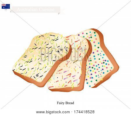 Australian Cuisine Fairy Bread or Traditional Sliced Bread Decorated with Sprinkles or Colored Candies. One of Tha Most Popular Dessert of Australia.