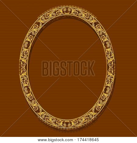 oval frame gold color with shadow on brown background