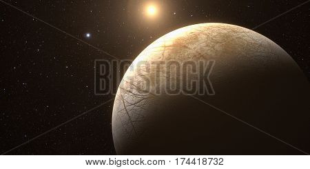 A rendered Image of the Jupiter Moon Europa on a starry background. Elements of this image furnished by NASA