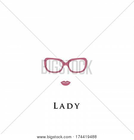 Beret hat. Lady in black hat and glasses. Bright lips painted on her face. Vector illustration.