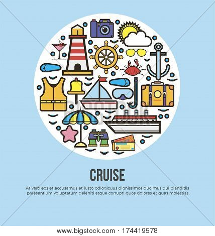 Sea cruise travel and summer vacation vector poster of ocean journey or holiday trip. Yacht helm or sailboat anchor, camera and sun on palm beach, scuba diving mask and tropical cocktail