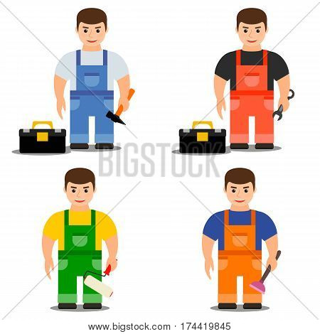 Profession worker. Mechanic carpenter plumber painter. Young strong man in overalls. The icons set. Vector illustration.