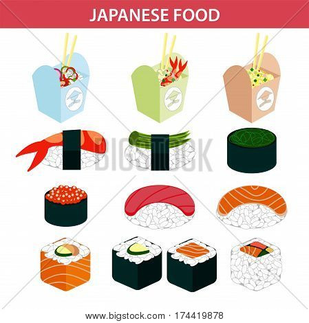 Japanese food icons of sushi and seafood rolls, salmon or tuna caviar sashimi on rice, shrimp or prawn tempura maki in nori seaweed. Vector noodle lunch box symbols set for restaurant or bar menu