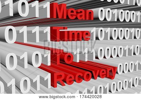 mean time to recovery in the form of binary code, 3D illustration