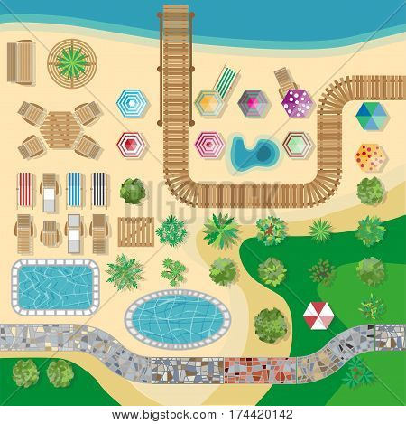 Hotel resort swimming pool area layout or plan template top view. Palm trees and umbrellas and lounge chairs on beachfront path. Vector illustration for summer holiday or vacation