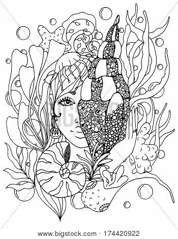 Vector illustration zentangl girl with shell in the ocean. Doodle drawing pen. Coloring page for adult anti-stress. Black and white.