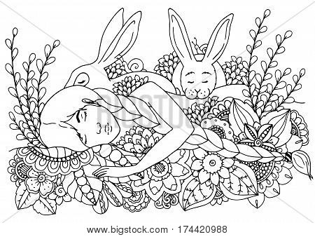 Vector illustration zentangl sleeping girl and hares. Doodle drawing pen. Coloring page for adult anti-stress. Black and white.