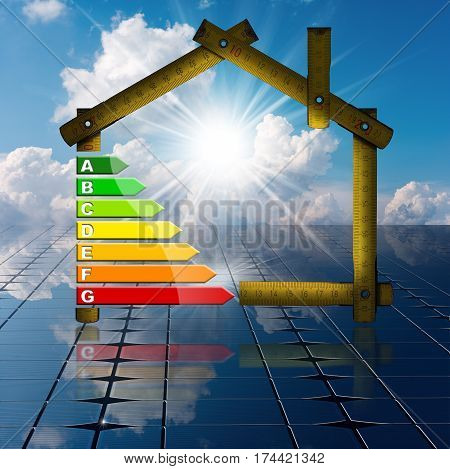 Wooden ruler in the shape of house with energy efficiency rating above the solar panels. Concept of ecological house project