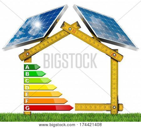 Yellow wooden folding ruler in the shape of house with energy efficiency rating and two solar panels. Concept of ecological house project