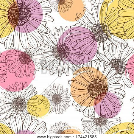Vector Seamless Pattern With Beautiful Chamomile Flower And Colorful Watercolor Blots. Floral Line I