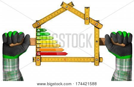 Energy Efficiency - Hands with work gloves holding a wooden folding ruler in the shape of house with energy efficiency rating. Isolated on white background