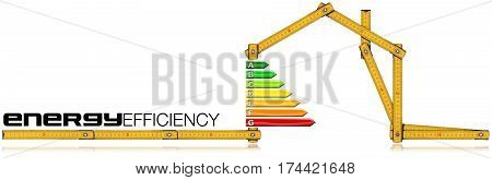 Energy Efficiency - Yellow wooden folding ruler in the shape of house with energy efficiency rating. Isolated on white background