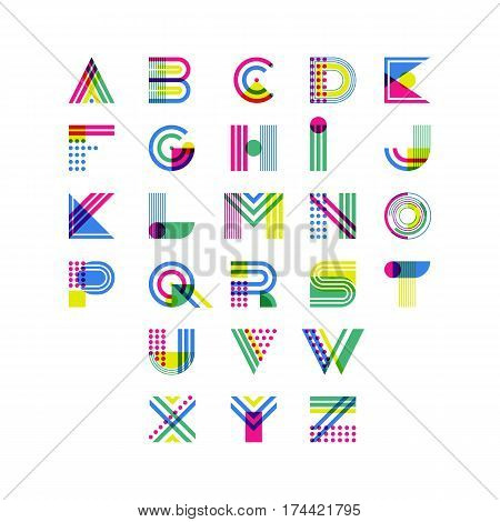 Colorful Geometric Alphabet. Latin Decorative Font Symbols. Vector Logo Design Elements.