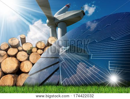 Renewable energies sources - Wind energy with a wind turbine solar energy with a solar panel biomass with a stack of tree trunks