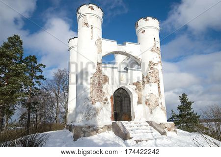 Chapel tomb of Ludvigsburg on the Island of the Dead close up in the sunny February day. Vyborg, Russia