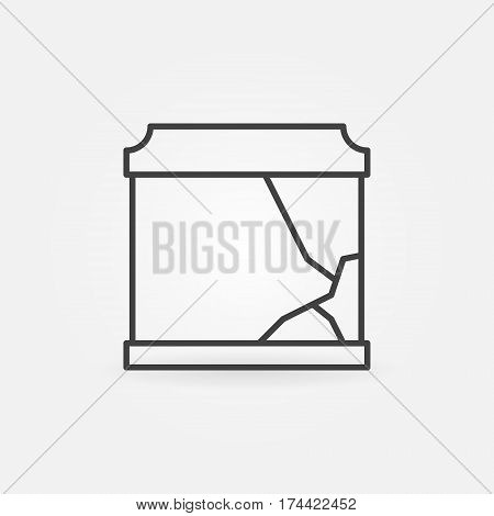 Broken aquarium icon - vector simple fish tank with broken glass symbol or logo element in thin line style