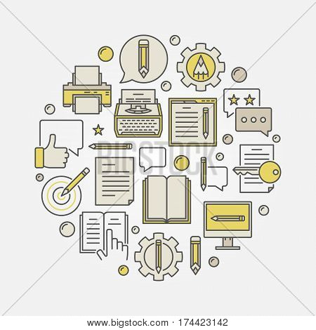 Colorful blogging round illustration. Vector round copywriting creative symbol