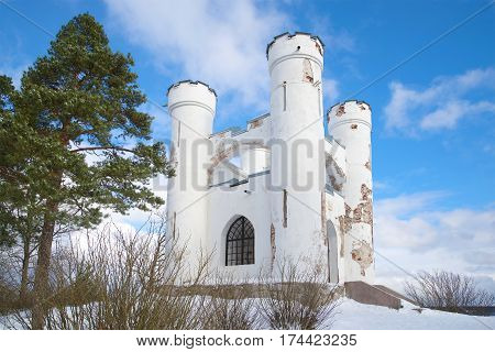 Chapel-tomb of Ludwigsburg on the top of the Island of Dead. February day. Vyborg Russia