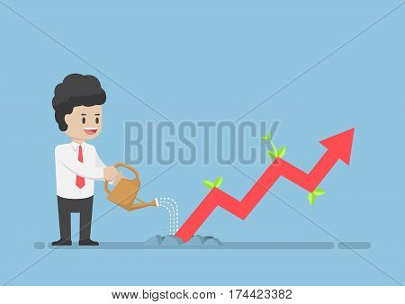 Businessman Watering Business Graph That Growth Through The Ground