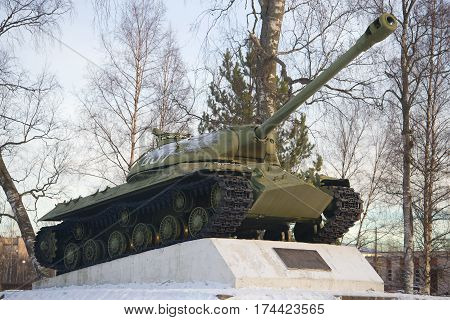 PRIOZERSK, RUSSIA - FEBRUARY 18, 2017: Tank IS-3 a monument in honor of the 55th anniversary of Victory in the Great Patriotic War of February morning
