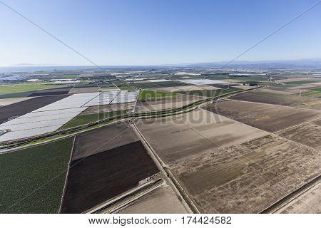 Aerial view of fertile farmland near Oxnard in Ventura County, California.