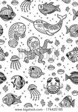Black and white vector drawing of sea with octopus, seal, narwhal and fish in a cartoon style. Ink ocean seamless pattern. Coloring book