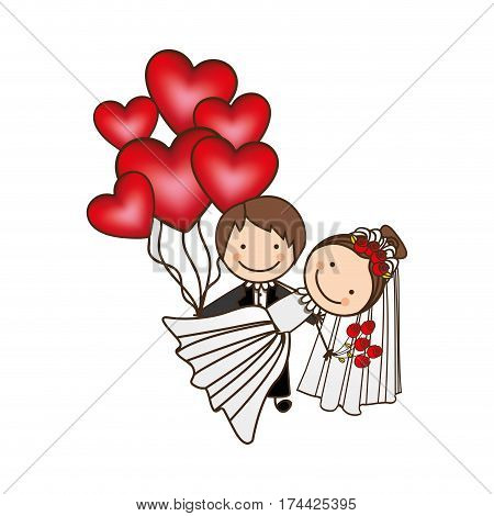 married couple with red heart bombs, vector illustraction design