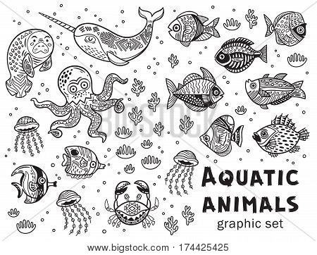 Vector collection with octopus, seal, narwhal and fish in black and white colors. Outline tropical illustration. Coloring book page design for adults and kids