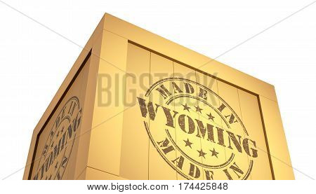 Import - Export Wooden Crate. Made In Wyoming. 3D Illustration