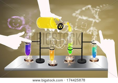 Chemical Reaction Flask. Concept Of Education