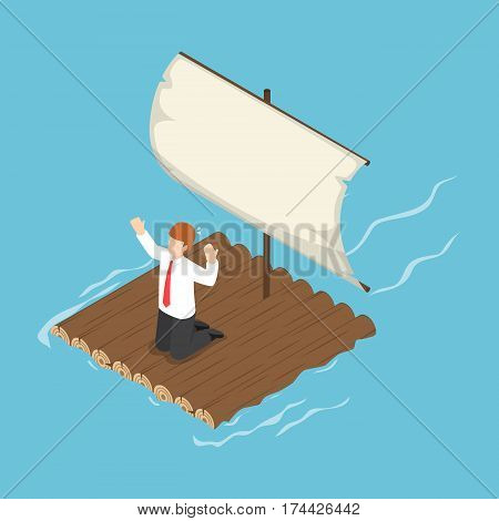 Isometric Businessman Stranded On Wooden Raft