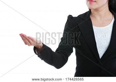 Woman Showing Open Hand Palm For Display Product Or Text. Isolated On White Background.