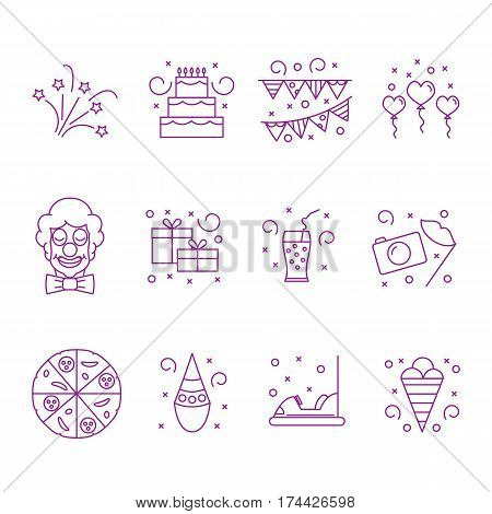 Attributes accessories drinks entertainment venue for children's holiday. Set of icons of kids party. Vector illustration.