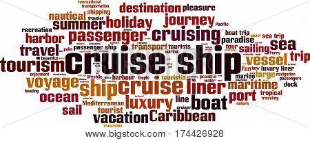 Cruise ship word cloud concept. Vector illustration