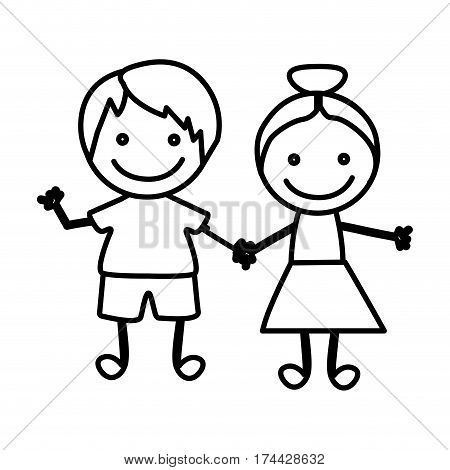 figure happy chidren with hand together icon, vector illustraction design